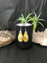 Load image into Gallery viewer, Boho wire wrapped Yellow Opal earrings sterling silver
