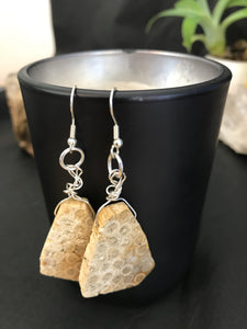 Boho wire wrapped Indonesian Coral Fossil earrings sterling silver