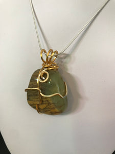 Australian Dendritic Opalite pendant wrapped in yellow gold