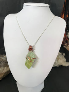 Green Calcite pendant antique copper wire wrapped