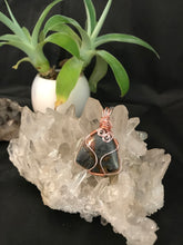 Load image into Gallery viewer, Red Marcasite cabochon pendant wrapped in rose gold