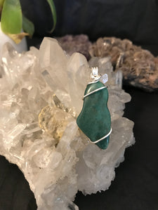 Australian Chrysoprase pendant with sterling silver wire wrap
