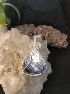 Australian Dendritic Opalite tumble intricately wrapped in sterling silver