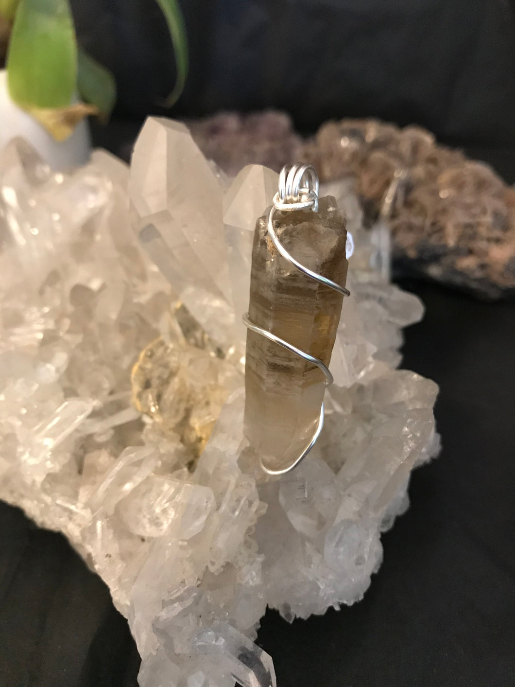 Rare Australian Phantom Citrine/Smoky/Clear Quartz pendant wrapped in Silver Silver