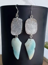 Load image into Gallery viewer, Amazonite wings with Agate druzy earrings sterling silver