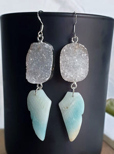 Amazonite wings with Agate druzy earrings sterling silver