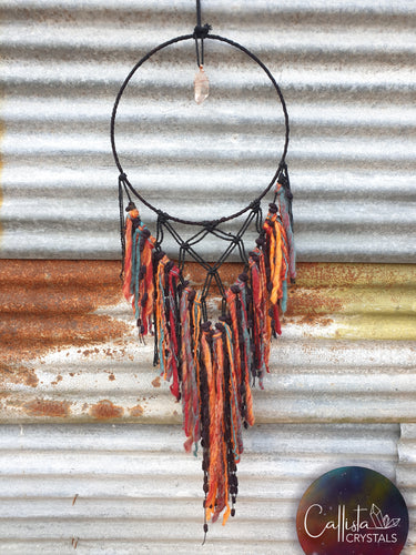 Unique Funky Black, Orange and Teal Wool Dreamcatcher with Himalayan Quartz crystal