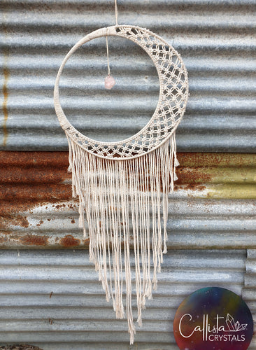 Unique Cream Crescent Moon DreamCatcher with Rose Quartz crystal