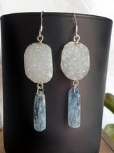 Load image into Gallery viewer, Kyanite and Agate druzy earrings Sterling silver (hypoallergenic nickel free)