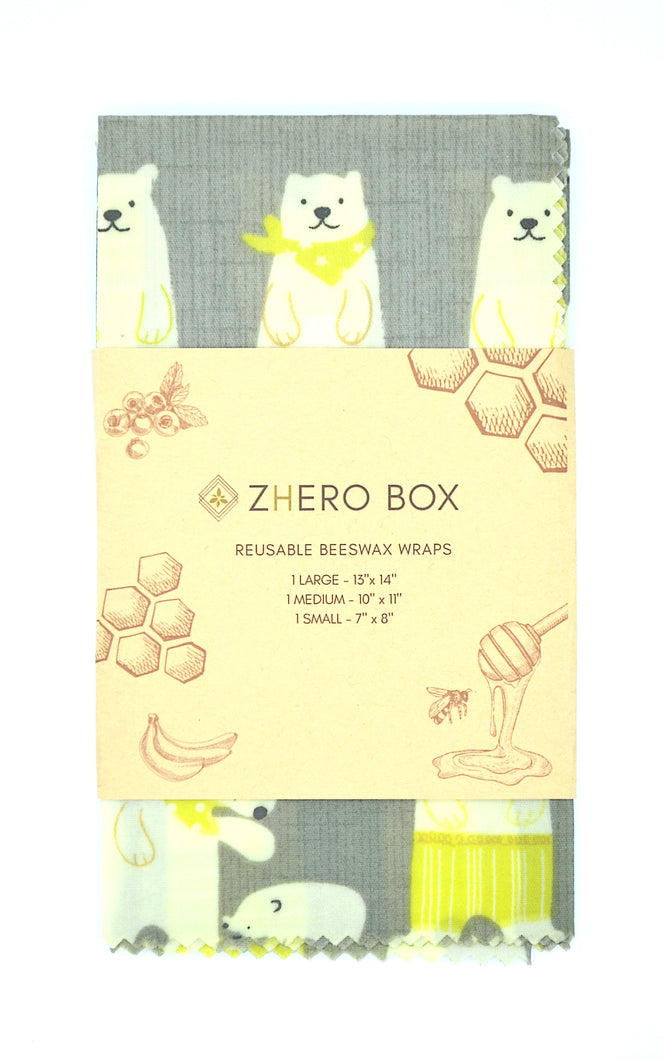 Set of 3 Beeswax Foodwraps - ZHERO BOX