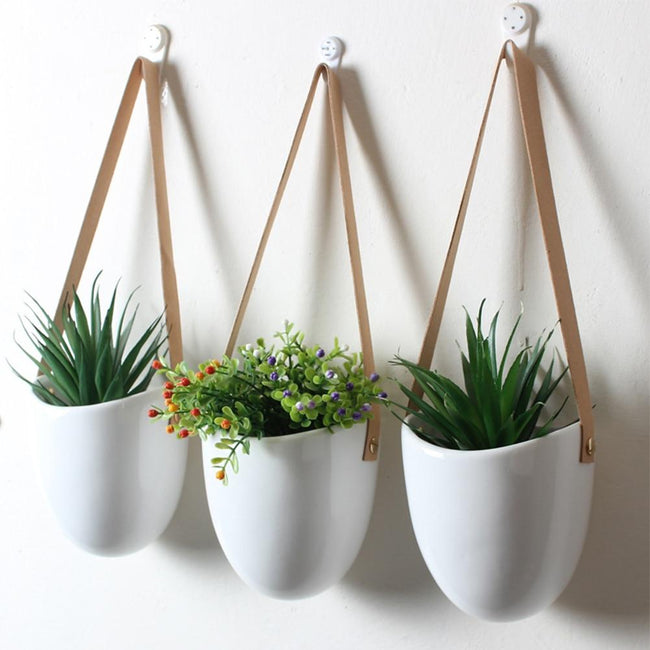 Catriona - Wall-hanging Ceramic Flower Pot (3 Sets) - Silky decor