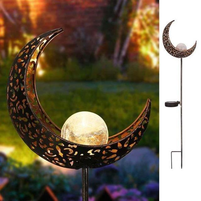 Marisol- Solar Moon Crackle Garden Decor Light