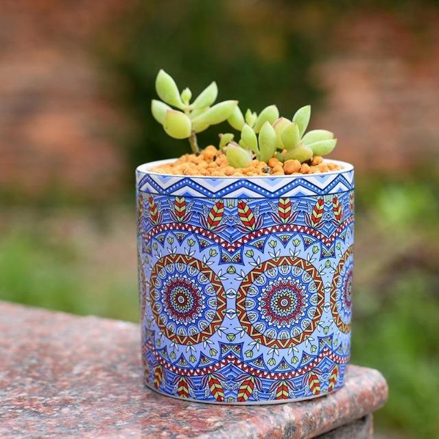 Maya - Indoor Ceramics Mandala Flower Planter