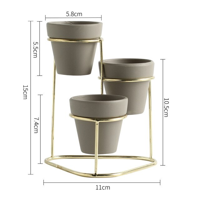 Elora - Modern 3 in 1 Pottery Planters