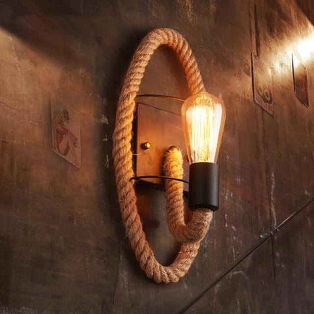 Rory - Retro Round Hemp Rope Lamp - Silky decor