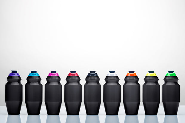Nine, sleek, 18.5 ounce water bottles with different color caps.