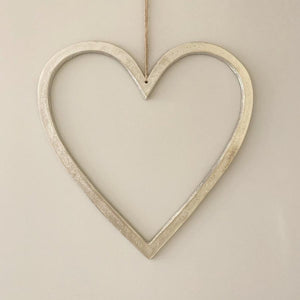 Raw Nickel Finish Hanging Heart