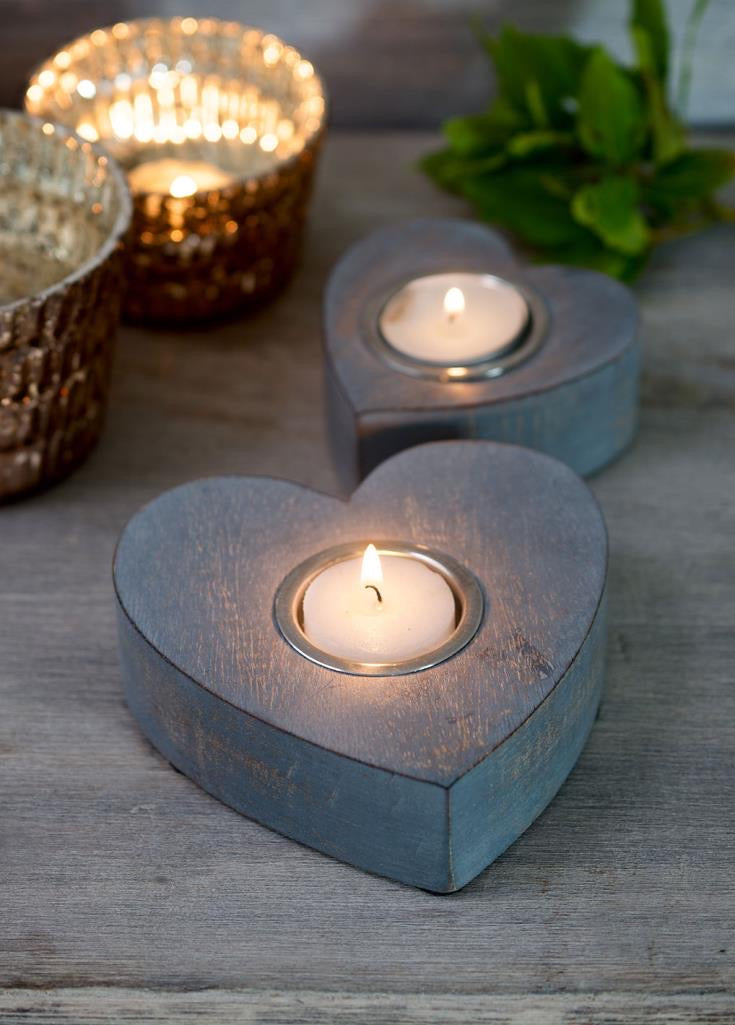 Set of Two Grey Wooden Heart Tealight Holders