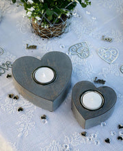 Load image into Gallery viewer, Set of Two Grey Wooden Heart Tealight Holders