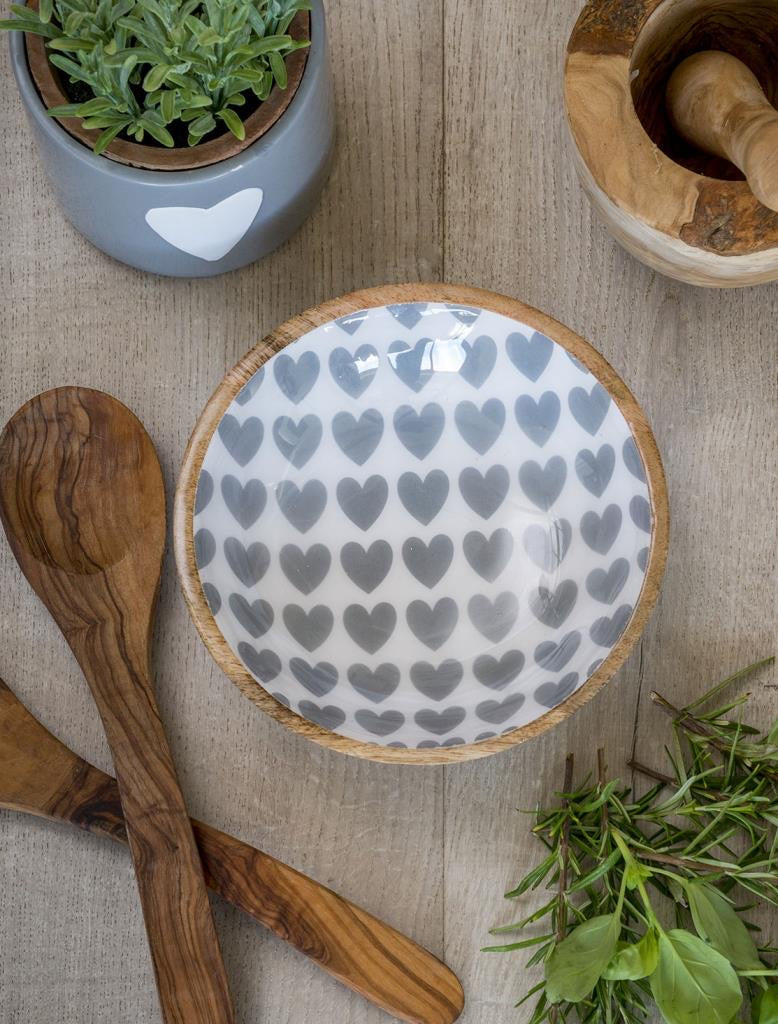Wood and Enamel Heart Bowl