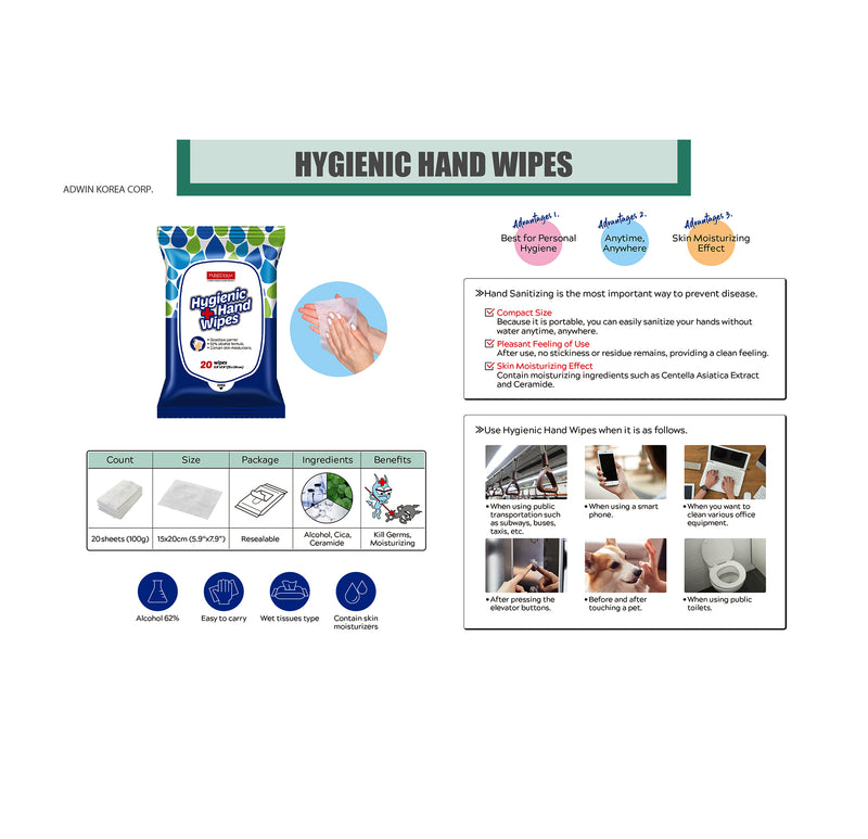 PUREDERM - Hygienic Hand Wipes(20pcs - Made in Korea).
