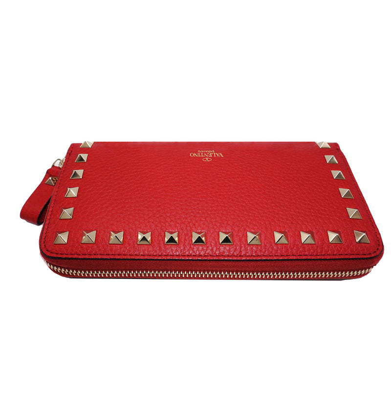 VALENTINO Rockstud Continental Leather Wallet.