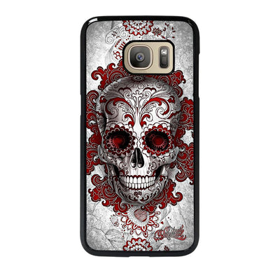 coque custodia cover fundas hoesjes j3 J5 J6 s20 s10 s9 s8 s7 s6 s5 plus edge D24211 FLORAL SUGAR SKULL RED Samsung Galaxy S7 Case