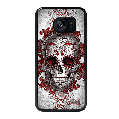 coque custodia cover fundas hoesjes j3 J5 J6 s20 s10 s9 s8 s7 s6 s5 plus edge D24212 FLORAL SUGAR SKULL RED Samsung galaxy s7 edge Case