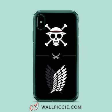 coque custodia cover case fundas hoesjes iphone 11 pro max 5 6 6s 7 8 plus x xs xr se2020 pas cher X9185 One Piece X Attack On Titan