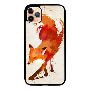 Watercolor art orange red fox animal F0246 iPhone 11 Pro Max coque