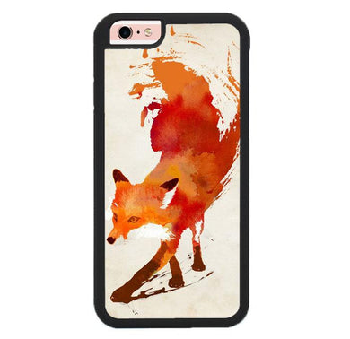 Watercolor art orange red fox animal F0246 iPhone 6 , 6S coque