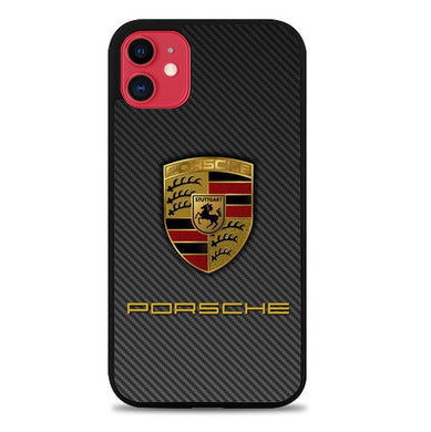 Coque iphone 5 6 7 8 plus x xs xr 11 pro max Porsche Logo Carbon X5017