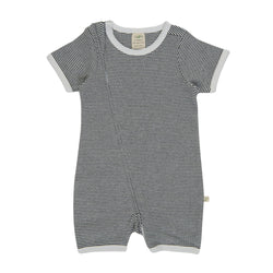 Graphite Stripes Organic Short Sleeve Sleepsuit with Zip