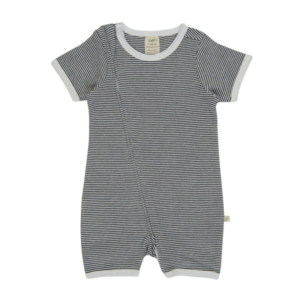 Graphite Stripes Organic Short Sleeve Zipsuit