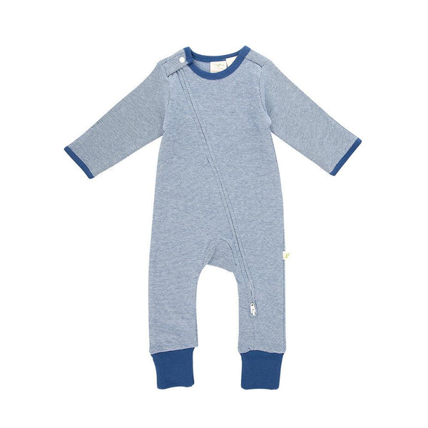 Bear Hugs Sapphire Stripes Long Sleeve Organic Zipsuit