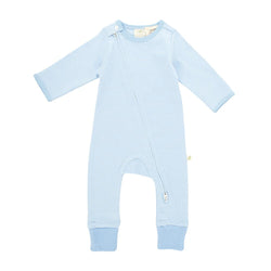 Ice Blue Stripes Long Sleeve Organic Sleepsuit with Zip