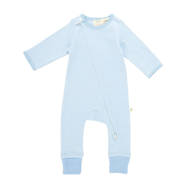 Baby Blue Stripes Long Sleeve Organic Zipsuit