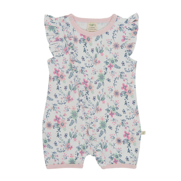 Pretty Petals Cap Sleeve Organic Sleepsuit with Zip