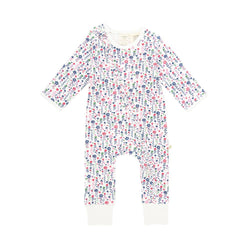Pretty Florals Long Sleeve Organic Frill Sleepsuit with Zip