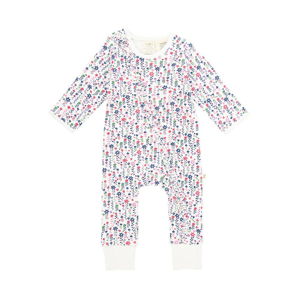 Pretty Florals Long Sleeve Organic Frill Zipsuit