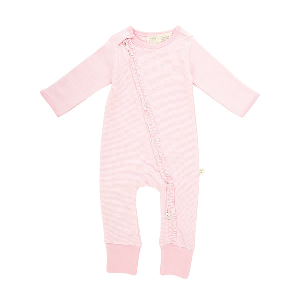Soft Pink Stripes Long Sleeve Organic Frill Zipsuit