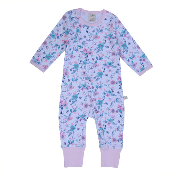 Pretty Petals Long Sleeve Organic Frill Sleepsuit with Zip