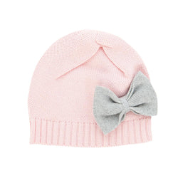 Soft Pink Organic Knitted Beanie with Bow