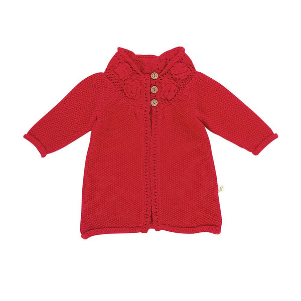 Tomato Organic Knitted Flower Cardigan