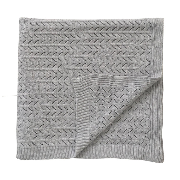 Grey Marle Organic Knitted Blanket