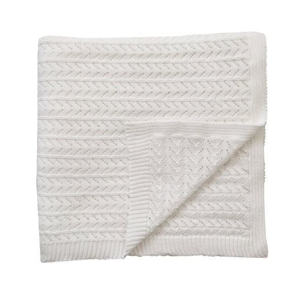 White Organic Knitted Blanket