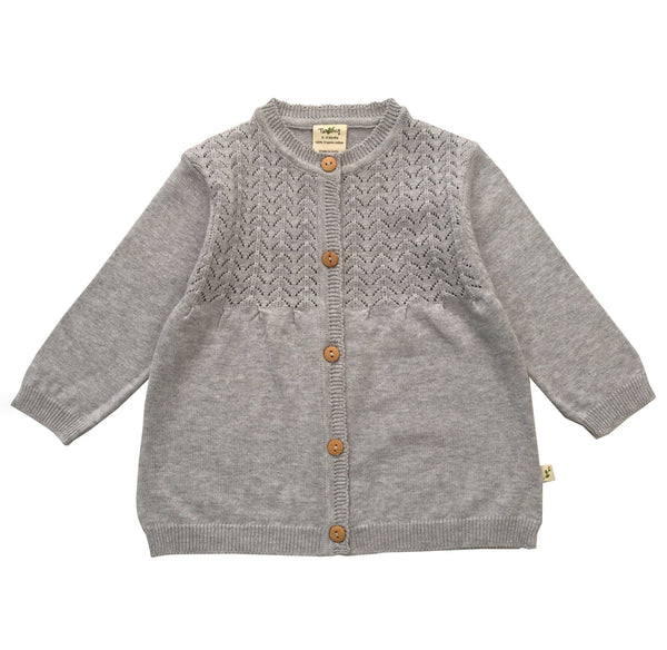 Grey Marle Organic Knitted Cardigan with Buttons