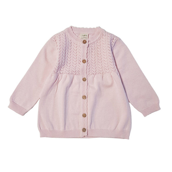 Soft Pink Organic Knitted Cardigan with Buttons