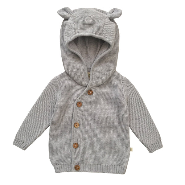 Grey Marle Organic Knitted Hoodie with Buttons