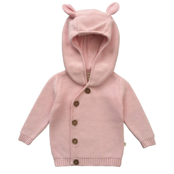 Soft Pink Organic Knitted Hoodie with Buttons